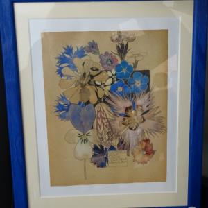 Médiathèque don aquarelle fleur bleu