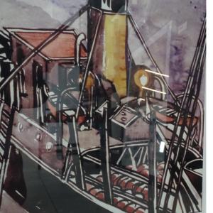 Médiathèque don aquarelle steamer moored of quayside
